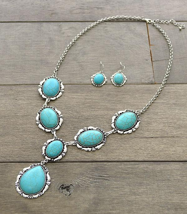 New Arrival :: Turquoise Stone Necklace Set