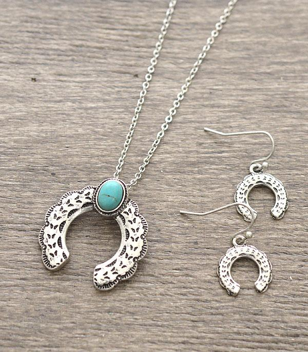 <font color=Turquoise>TURQUOISE JEWELRY</font> :: Dainty Squash Blossom Necklace Set