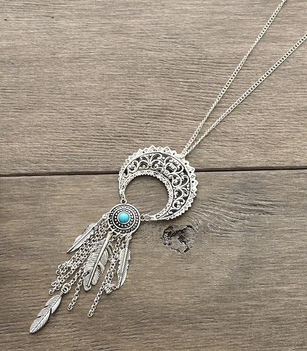 <font color=Turquoise>TURQUOISE JEWELRY</font> :: Bohemian Feather Necklace