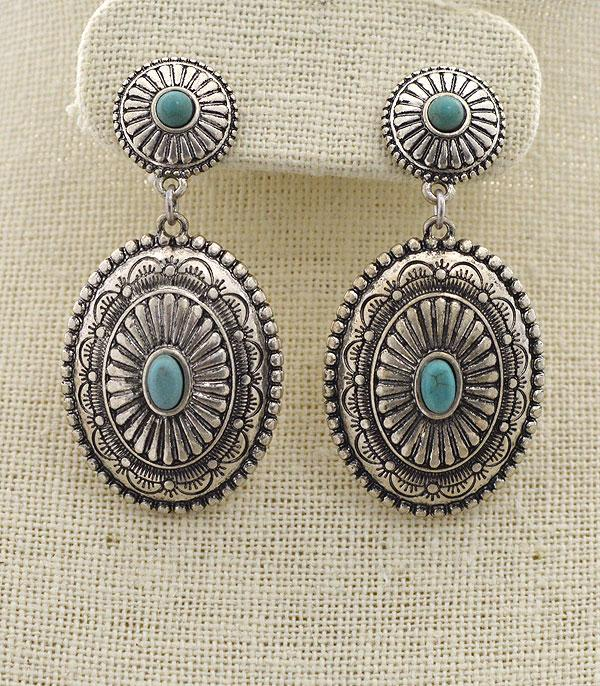 <font color=Turquoise>TURQUOISE JEWELRY</font> :: Navajo Pattern Concho Earrings