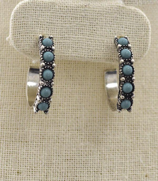 New Arrival :: Half Hoop Turquoise Earrings