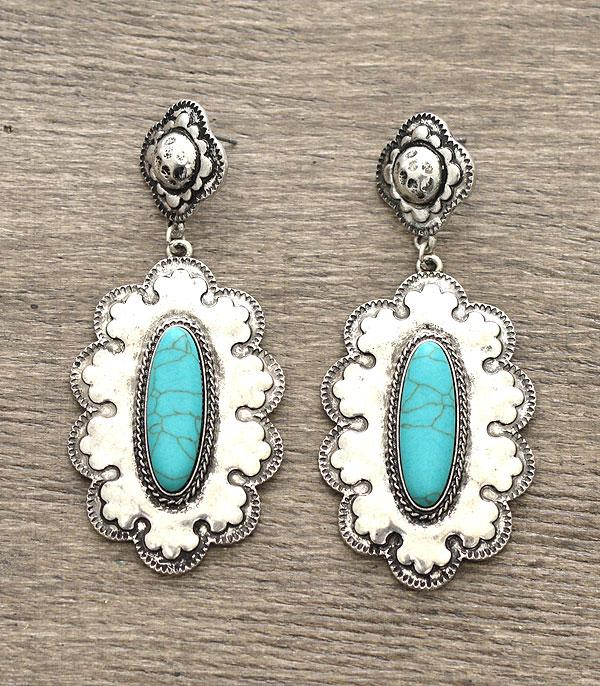 <font color=Turquoise>TURQUOISE JEWELRY</font> :: Western Concho Turquoise Stone Earrings
