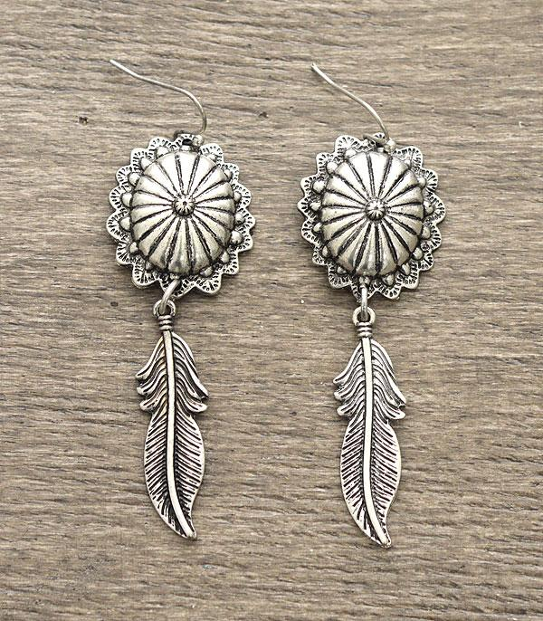 New Arrival :: Concho Feather Dangle Earrings