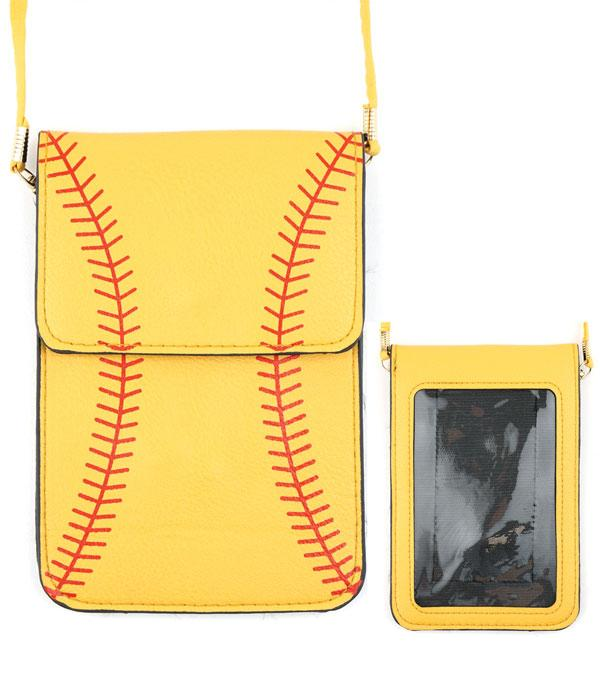 PHONE ACCESSORIES :: Softball Cellphone Crossbody Bag