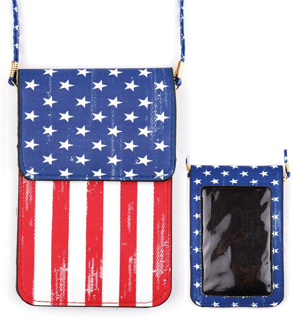 PHONE ACCESSORIES :: American Flag Cellphone Crossbody Bag