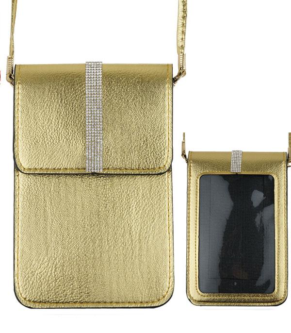 PHONE ACCESSORIES :: Rhinestone Cellphone Crossbody Bag