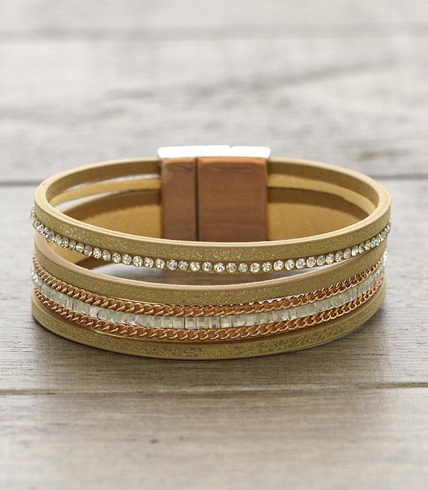 New Arrival :: Crystal Leather Bracelet