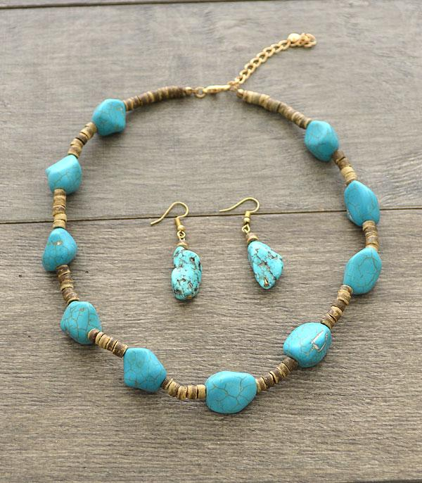 <font color=Turquoise>TURQUOISE JEWELRY</font> :: Turquoise Stone Wood Necklace Set