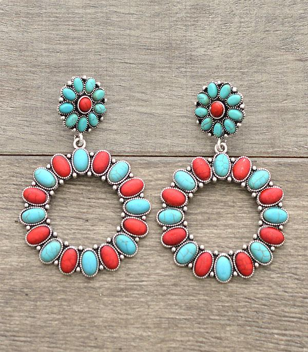 <font color=Turquoise>TURQUOISE JEWELRY</font> :: Western Circle Dangle Earrings