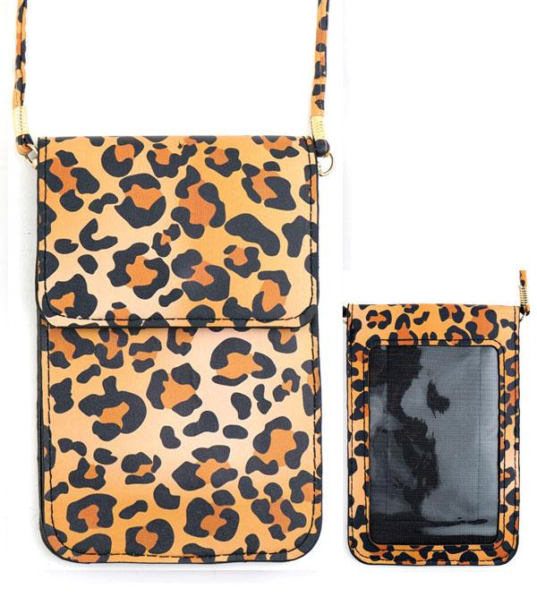 PHONE ACCESSORIES :: Leopard Print Cellphone Crossbody Bag