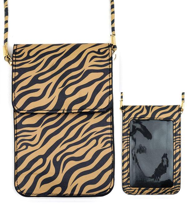 PHONE ACCESSORIES :: Tiger Print Cellphone Crossbody Bag