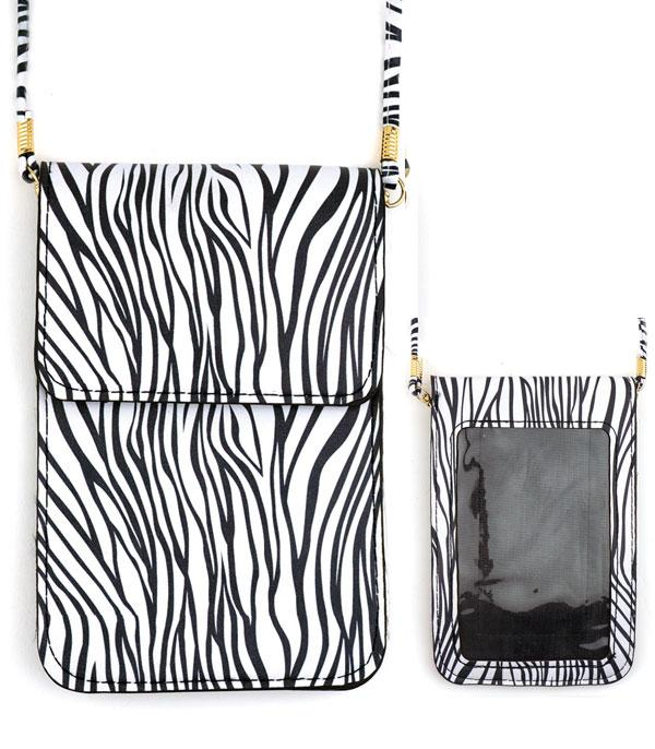 PHONE ACCESSORIES :: Zebra Print Cellphone Crossbody Bag