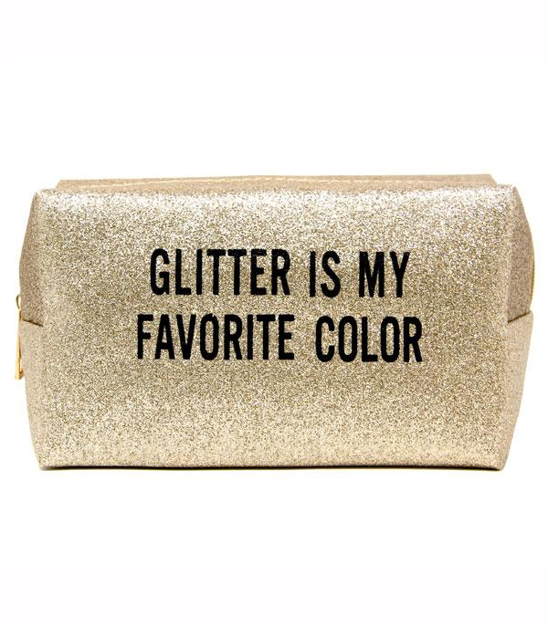 TRAVEL :: DIAPER | TOILETRY | COSMETIC BAGS :: Glitter Is My Favorite Color Cosmetic Bag