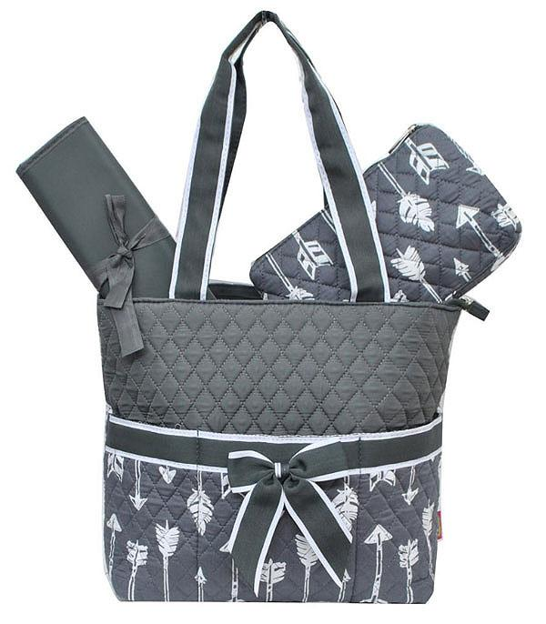 TRAVEL :: DIAPER | TOILETRY | COSMETIC BAGS :: Arrow Print Quilted Diaper Bag
