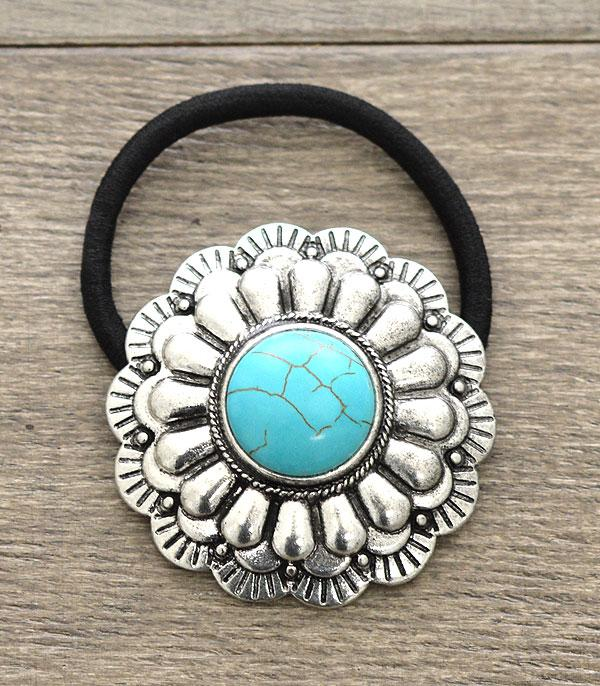 New Arrival :: Turquoise Stone Concho Pony Tail Band