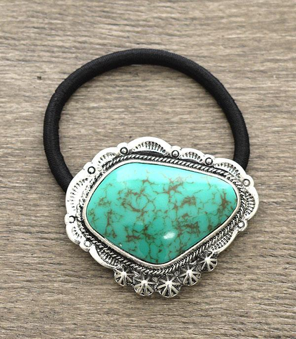 New Arrival :: Western Turquoise Stone Pony Tail Band