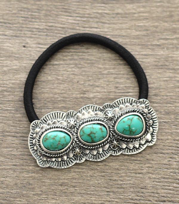 <font color=Turquoise>TURQUOISE JEWELRY</font> :: Turquoise Stone Pony Tail Band