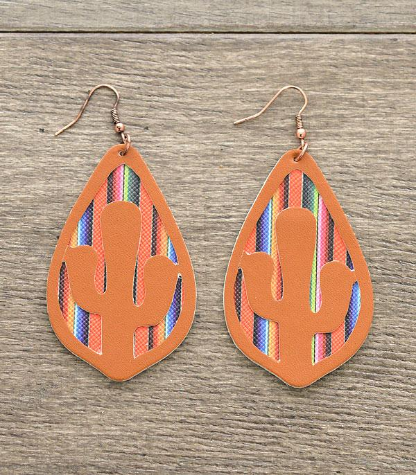 New Arrival :: Cactus Cut-Out Leather Serape Earrings