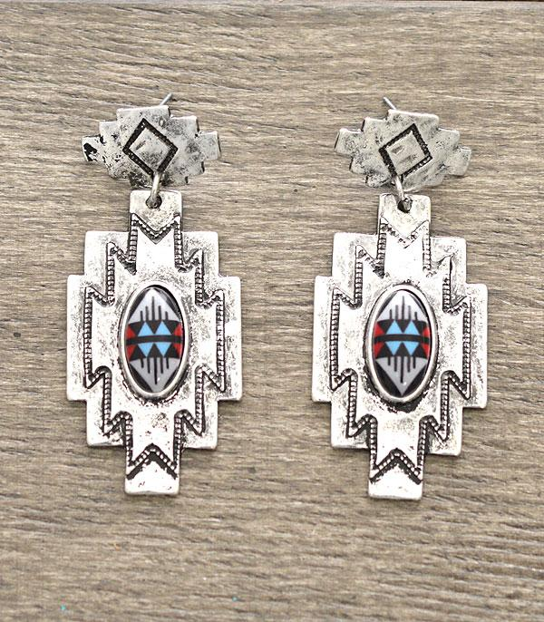 New Arrival :: Aztec Pattern Western Earrings