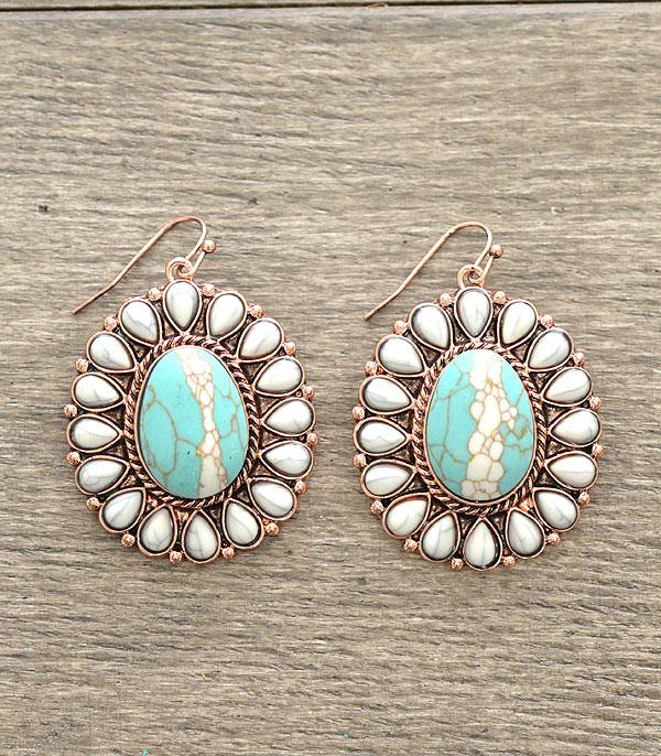 <font color=Turquoise>TURQUOISE JEWELRY</font> :: Natural Stone Concho Earrings