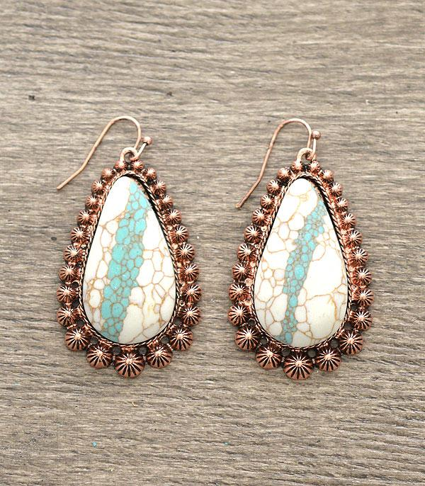 <font color=Turquoise>TURQUOISE JEWELRY</font> :: Turquoise Stone Blossom Earrings