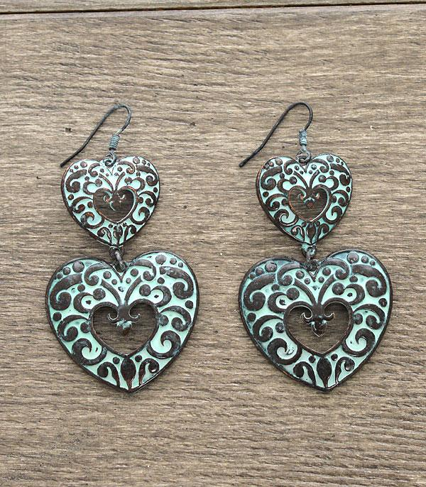 <font color=red>VALENTINE'S</font> :: Heart Casting Dangle Earrings