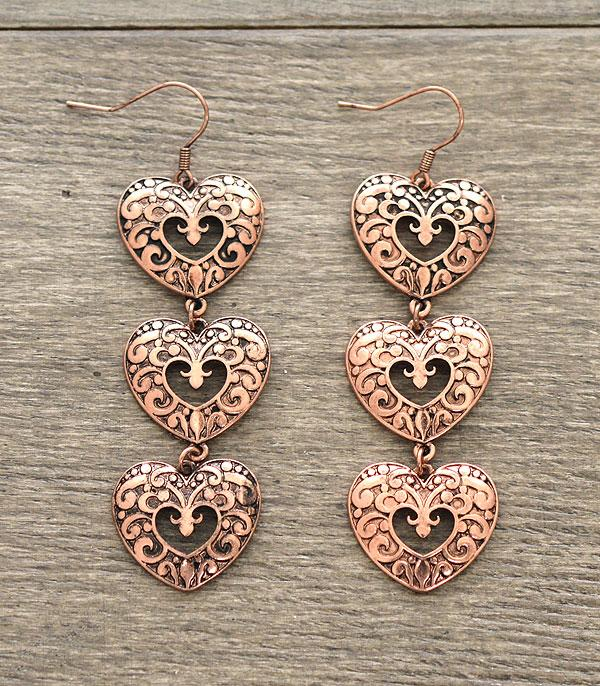 <font color=red>VALENTINE'S</font> :: Heart Dangle Earrings