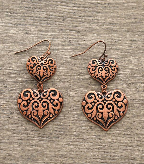 <font color=red>VALENTINE'S</font> :: Double Heart Casting Earrings