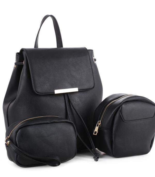HANDBAGS :: SET BAGS :: Faux Leather Backpack Set