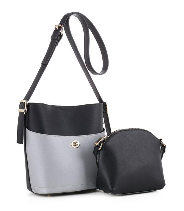 HANDBAGS :: SET BAGS :: Color Block 2-In-1 Bucket Satchel