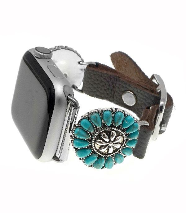 <font color=Green>FEATURES</font> :: APPLE WATCH BAND :: Turquoise Leather Watch Band