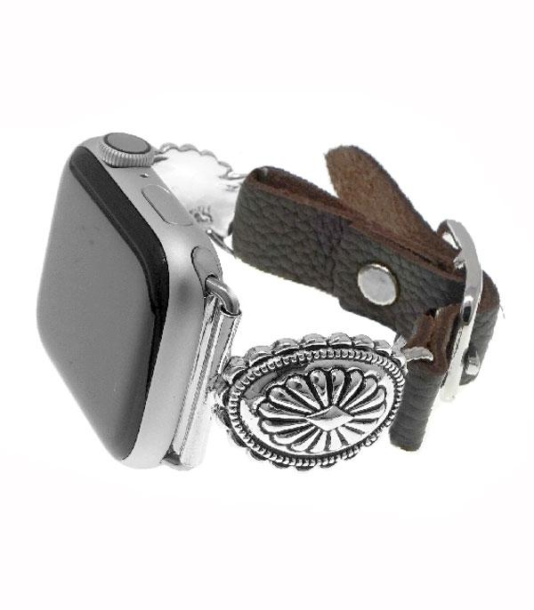 <font color=Green>FEATURES</font> :: APPLE WATCH BAND :: Silver Concho Leather Watch Band
