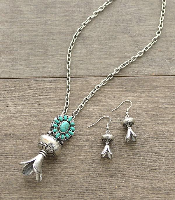 <font color=Turquoise>TURQUOISE JEWELRY</font> :: Turquoise Accent Squash Blossom Necklace Set