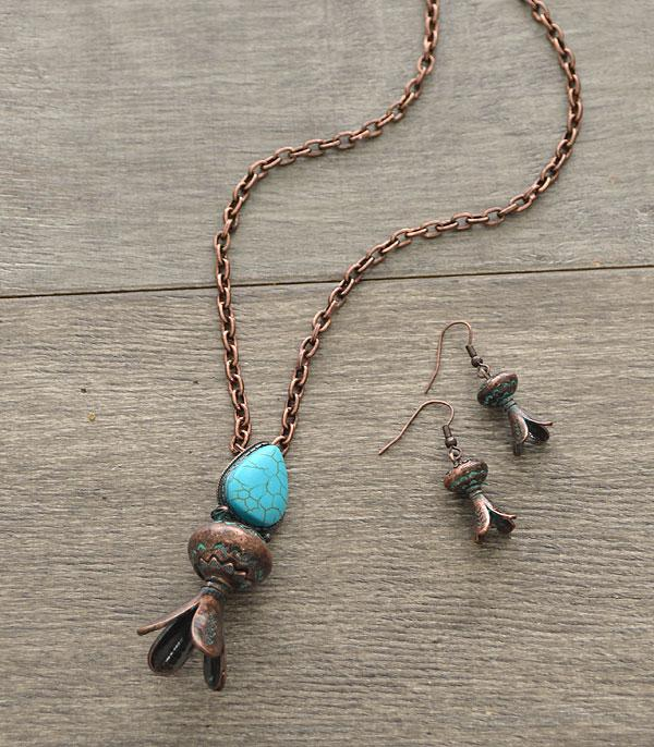 <font color=Turquoise>TURQUOISE JEWELRY</font> :: Stone Accent Squash Blossom Necklace Set