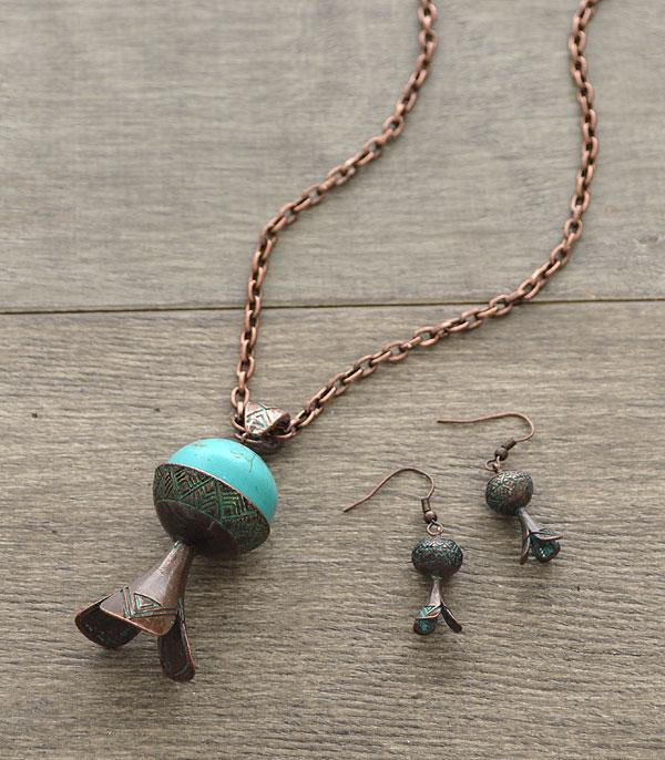 <font color=Turquoise>TURQUOISE JEWELRY</font> :: Turquoise Stone Squash Blossom Necklace Set