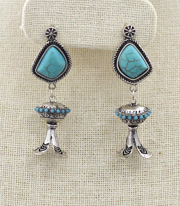 <font color=Turquoise>TURQUOISE JEWELRY</font> :: Turquoise Stone Squash Blossom Earrings