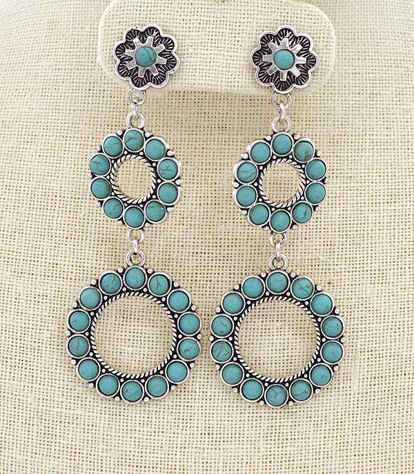 <font color=Turquoise>TURQUOISE JEWELRY</font> :: Circle Drop Earrings