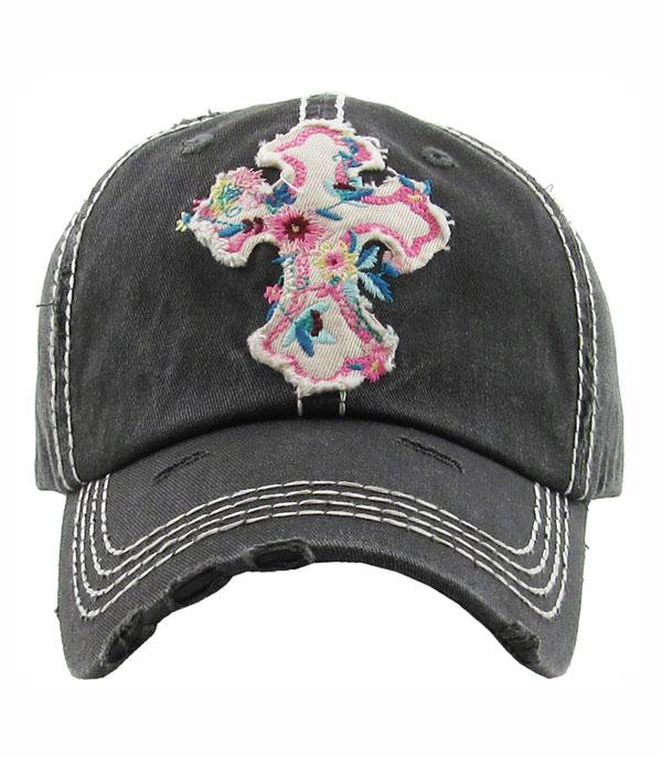 New Arrival :: Wholesale Vintage Floral Cross Hat