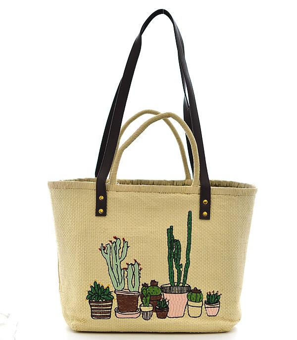 New Arrival :: Wholesale Cactus Embroidered Straw Bag