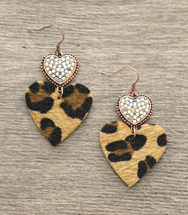 <font color=red>VALENTINE'S</font> :: Crystal Heart Leopard Earrings