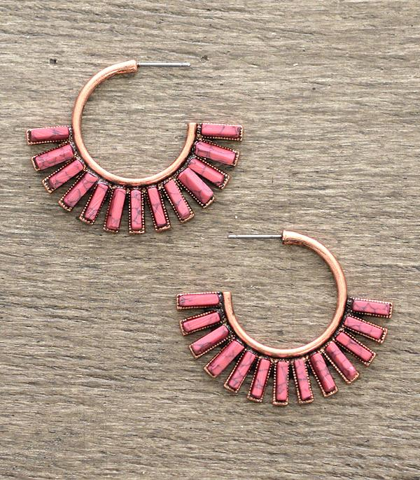 New Arrival :: Stone Fan Earrings