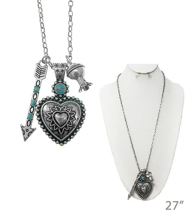 New Arrival :: Heart Pendant Cluster Necklace