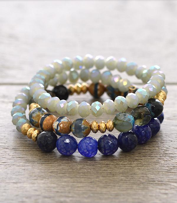 BRACELETS :: BANGLE :: Natural Stone Coil Wrap Bracelet