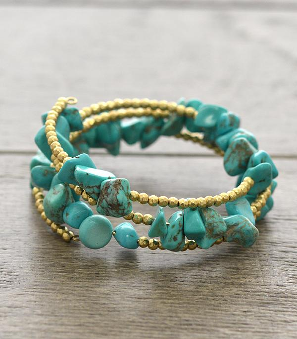 <font color=Turquoise>TURQUOISE JEWELRY</font> :: Genuine Stone Coil Wrap Bracelet