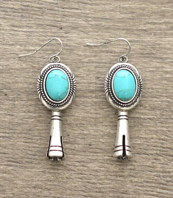 <font color=Turquoise>TURQUOISE JEWELRY</font> :: Squash Blossom Dangle Earrings