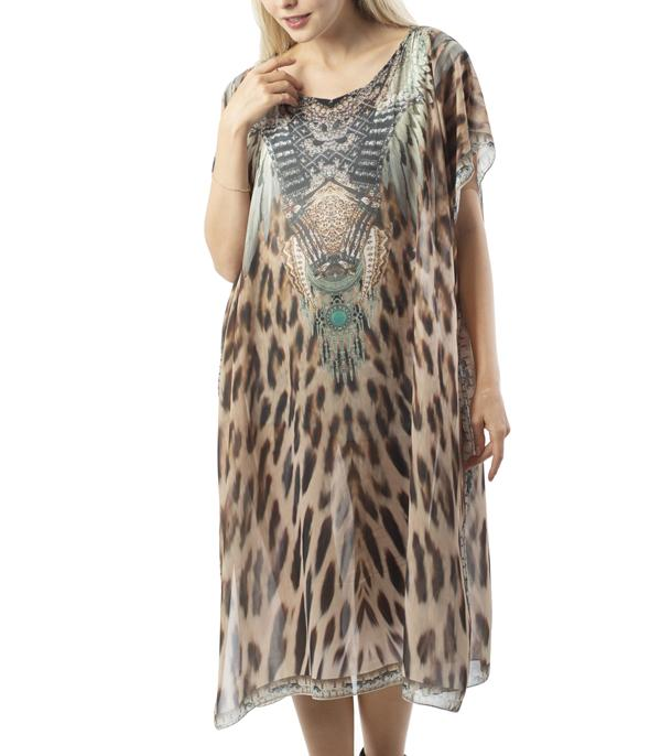 SCARVES / PONCHO :: PONCHO | VEST :: Wholesale Animal Print Kimono Dress