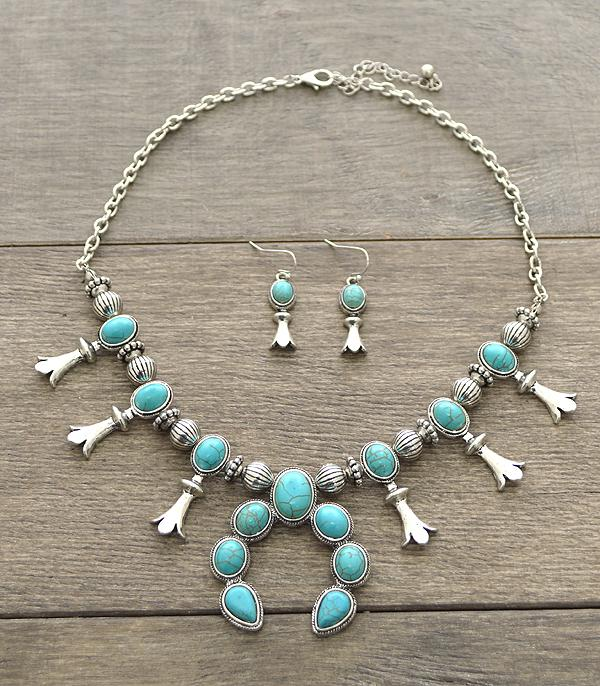 <font color=Turquoise>TURQUOISE JEWELRY</font> :: Wholesale Squash Blossom Necklace Set