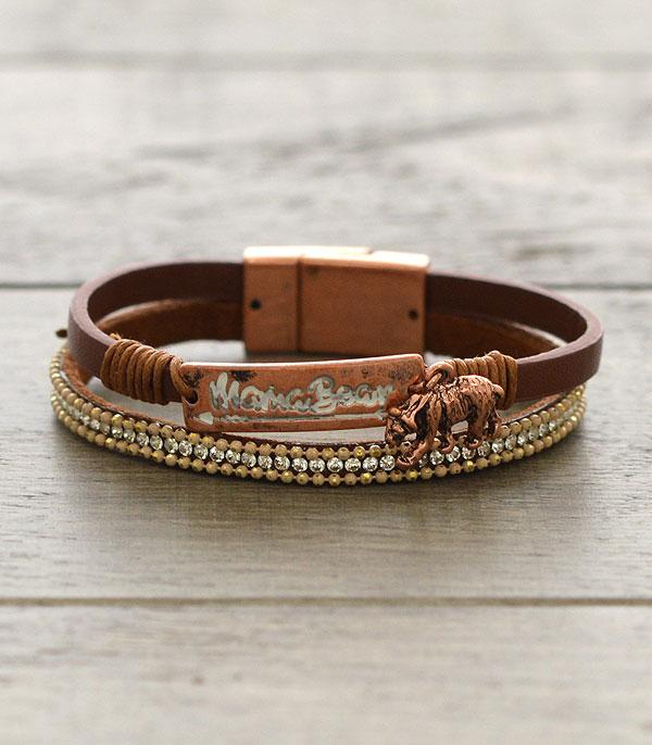 BRACELETS :: LINK :: Wholesale Mama Bear Leather Bracelet
