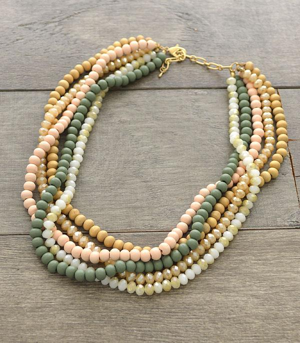New Arrival :: Wholesale Multi-Layered Wood Beads Necklace