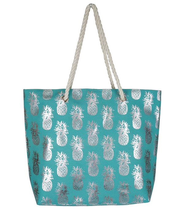 New Arrival :: Wholesale Gold Foil Pineapple Beach Tote